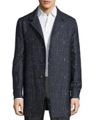 Striped Wool-Blend Trench Coat