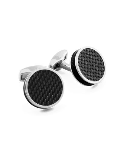 Silver-Plated Carbon Cuff Links