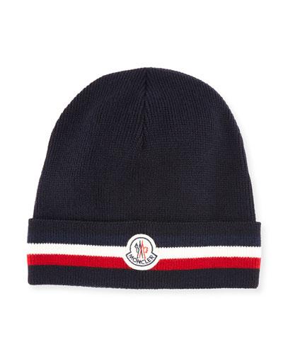 Men's Tricolor-Striped Cuff Beanie Wool Hat