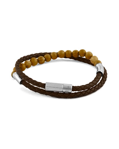 Men's Beaded Leather Double-Wrap Bracelet