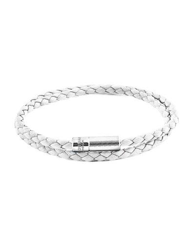 Men's Braided Leather Double-Wrap Bracelet