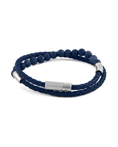 Men's Beaded Leather Wrap Bracelet, Blue