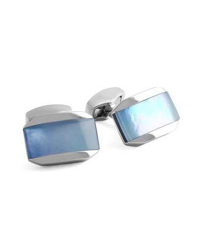 Tateossian Striped Mother-Of-Pearl Rectangular Cuff Links LAcRfuo
