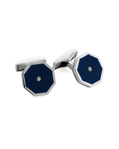 Blue Tiger's Eye Octagon Cuff Links