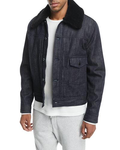 Bartack Denim Jacket with Shearling Collar