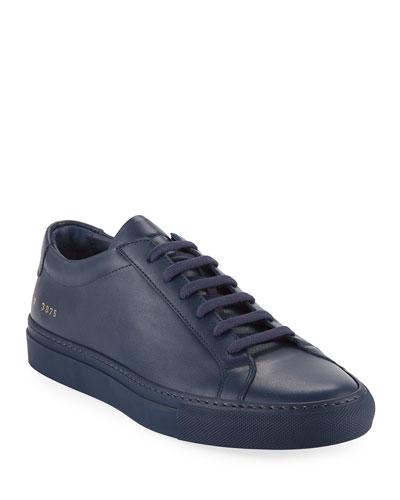 Men's Achilles Leather Low-Top Sneaker, Navy