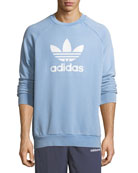 Trefoil Warm-Up Sweatshirt, Light Blue