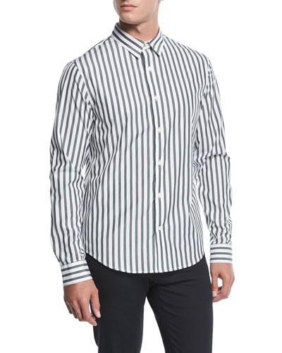 Striped Long-Sleeve Sport Shirt