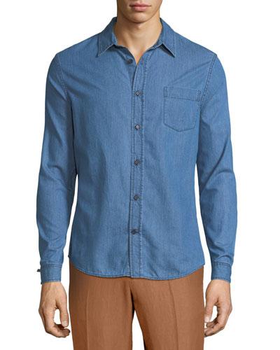 Long-Sleeve Chambray Sport Shirt
