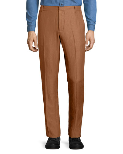 Linen-Blend Tapered-Leg Trousers