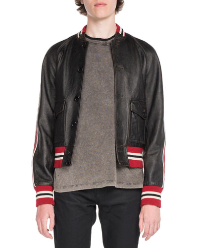 Teddy Leather Bomber Jacket