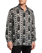 Ikat-Print Dress Shirt