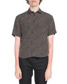 Dot-Print Button-Front Shirt