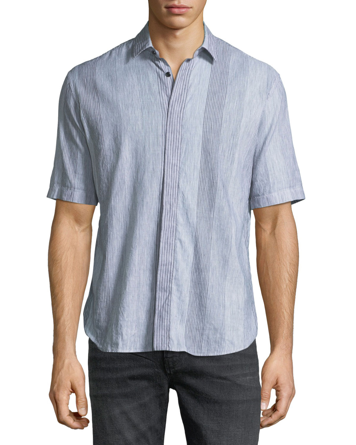Striped Short-Sleeve Sport Shirt