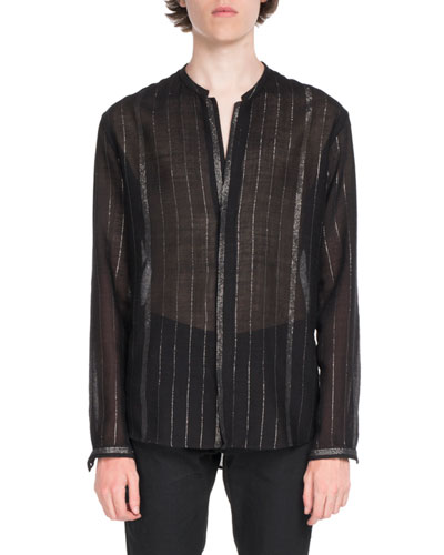 Striped Semisheer Long-Sleeve Shirt