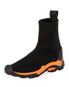 Fly-Knit Sock Boot Sneaker, Black