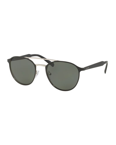 Round Aviator Sunglasses, Black/Silver