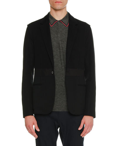 Mixed-Media One-Button Jacket