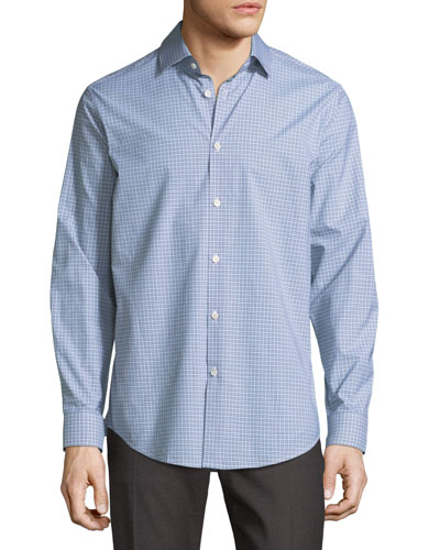 Clean Grid-Print Sport Shirt