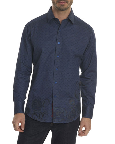 Lionel Embroidered-Trim Sport Shirt