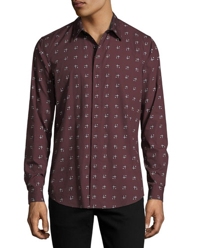 Cross-Box Printed Long-Sleeve Sport Shirt
