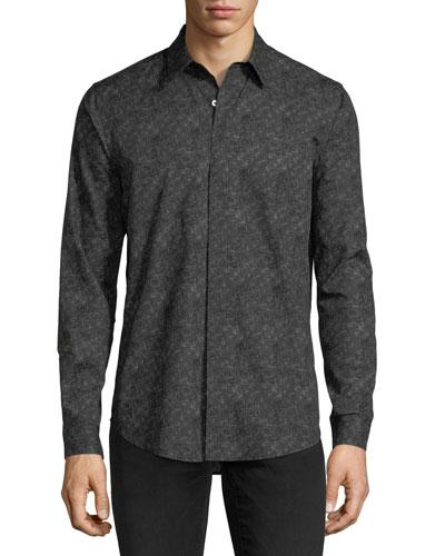 Tonal-Print Long-Sleeve Sport Shirt