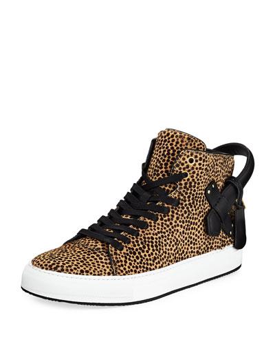 Men's 100mm Leopard Calf Hair High-Top Sneaker
