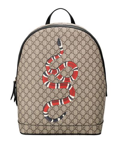 Snake-Print GG Supreme Backpack