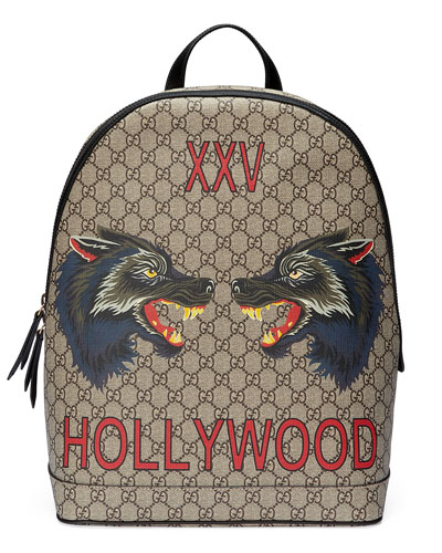 XXV Wolf-Print GG Supreme Backpack