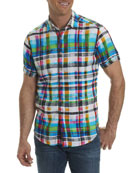 Hula Plaid Linen Sport Shirt