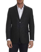 Gingham-Stitch Sport Coat