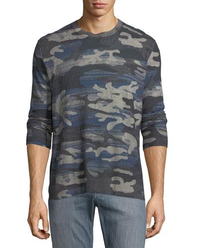 Triton Linen-Blend Long-Sleeve Camo T-Shirt
