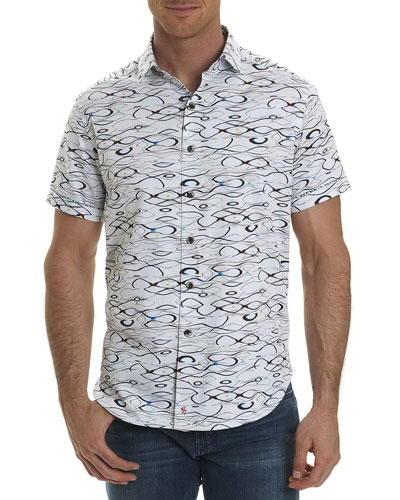 Illusions Wavy-Print Short-Sleeve Sport Shirt