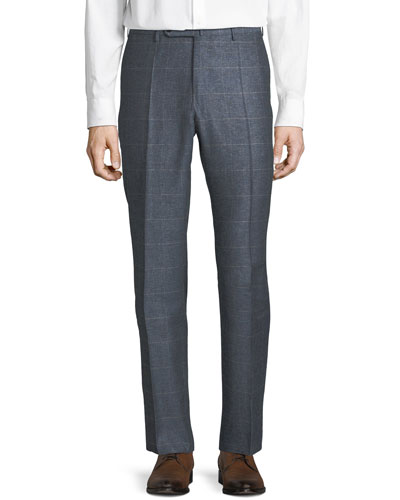 Men's Windowpane Silk-Blend Melange Trousers