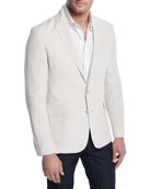 Ralph Lauren Linen-Silk Slub Two-Button Jacket
