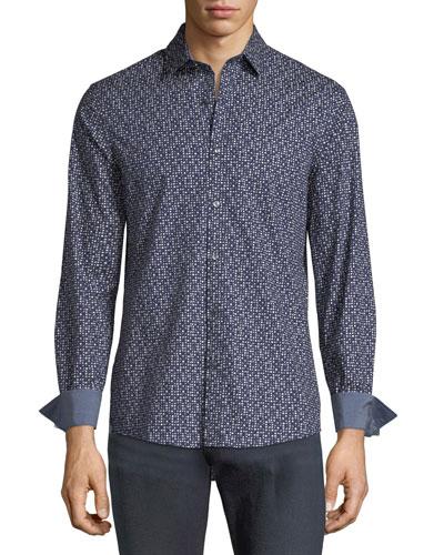 Dot-Print Shirt w/ Contrast Cuffs