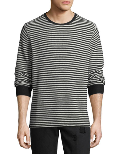 Striped-Knit Wool Sweater
