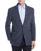 Wool-Silk Stretch Plaid Seersucker Blazer