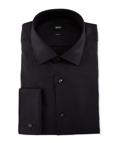 Jacques Tonal Jacquard Slim-Fit Dress Shirt