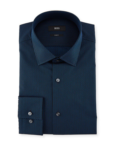 Jenno Slim-Fit Dotted Cotton Dress Shirt, Medium Blue