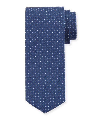 Circle-Print Silk Tie, Blue
