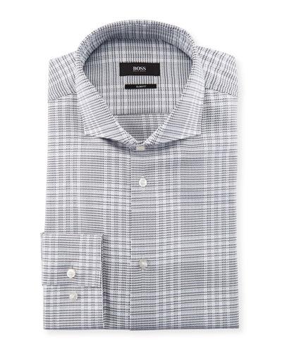 Jason Slim-Fit Large Plaid Cotton Dress Shirt