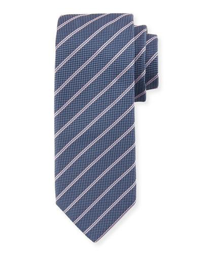 Striped Silk Tie, Navy