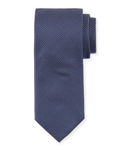 Dot-Print Silk Tie, Navy