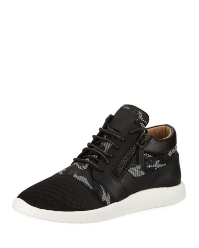 Camouflage Mixed Media Trainer Sneaker