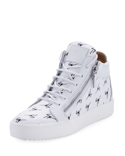 Men's Mid-Top Logo-Embossed Platform Sneaker, White/Black