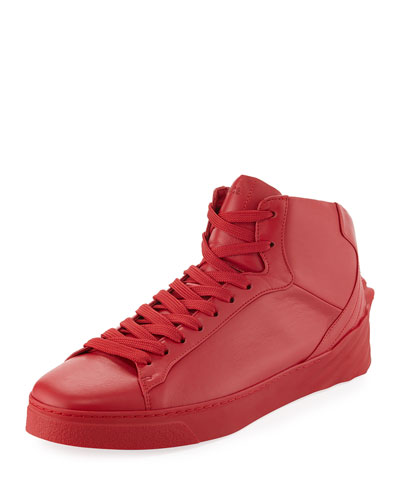 Men'S 3D Medusa Mid-Top Leather Sneakers, Red