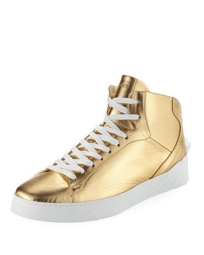 Men's Metallic Leather High-Top Sneaker with Medusa