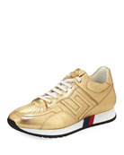 Greek Key Running Shoe, Gold