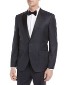 Tonal Plaid Peak-Lapel Slim Tuxedo Set